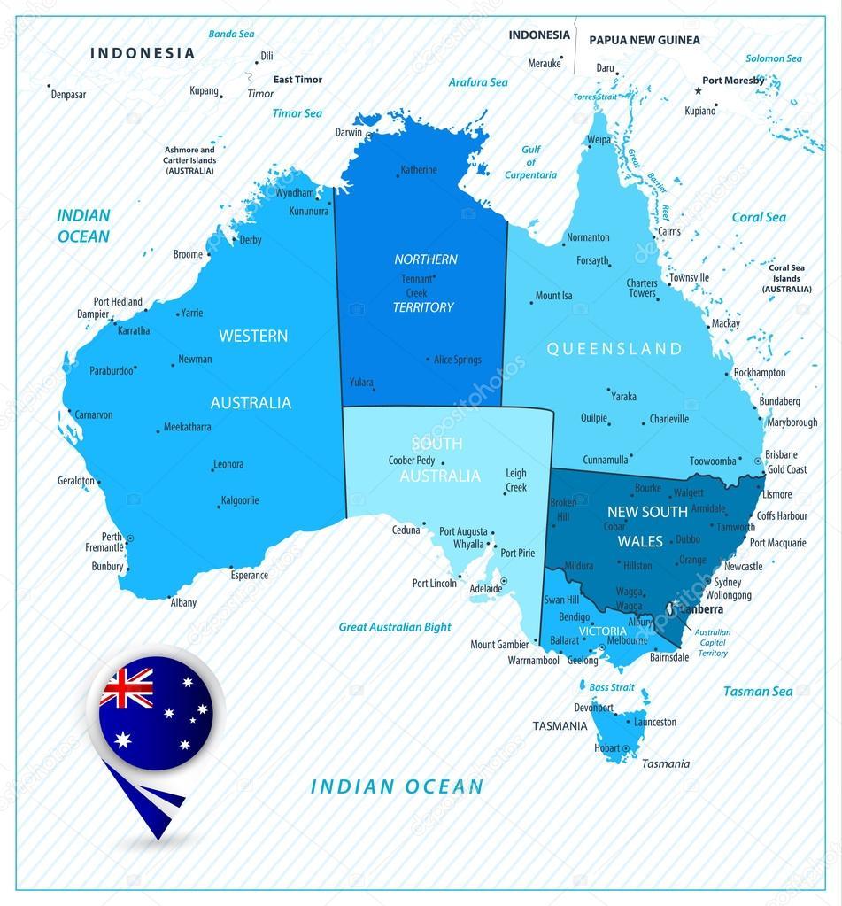 Detailed Map Australia.Australia Detailed Map In Colors Of Blue Stock Vector C Livenart