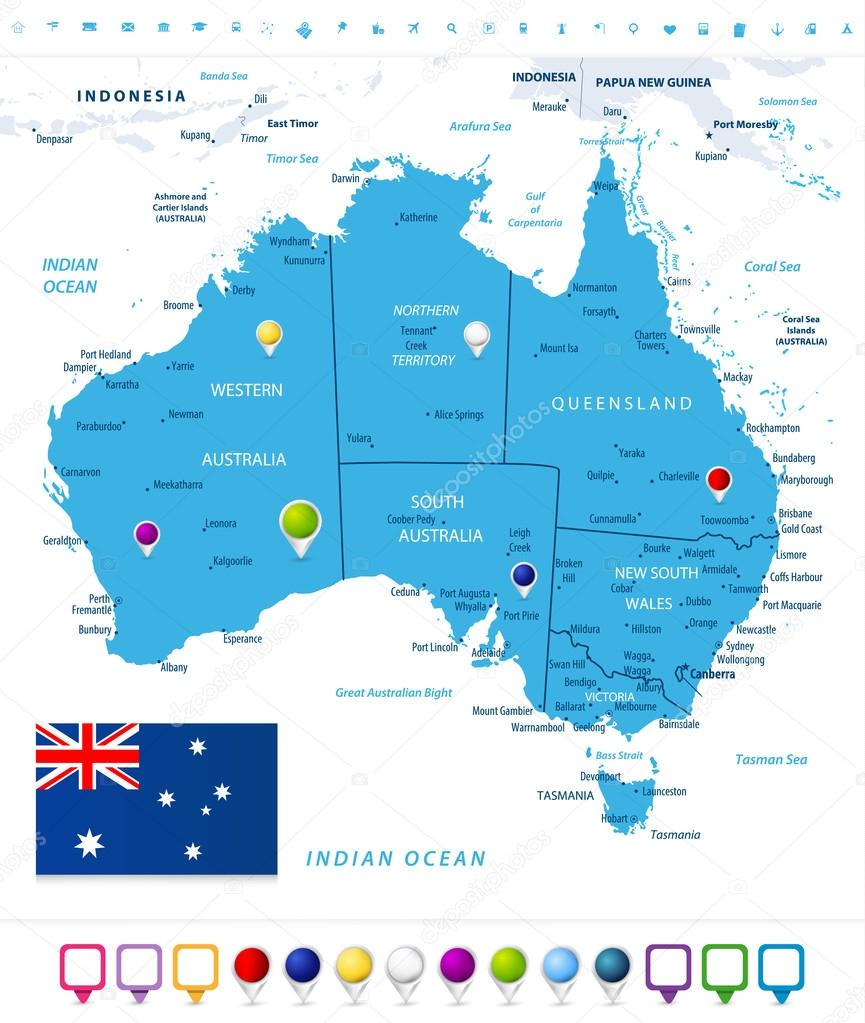Australia Map Labeled.Australia Map With Map Pointers Isolated On White Stock Vector