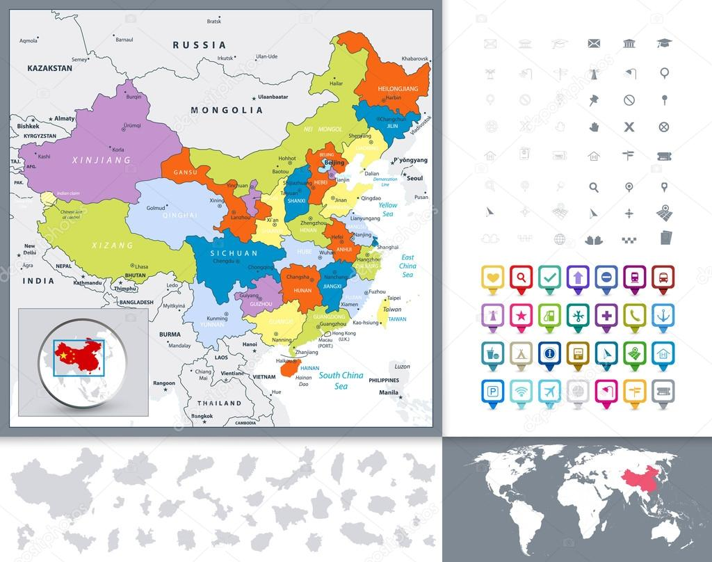 Chinese Political Map.China Political Map And Map Pointers Stock Vector C Livenart