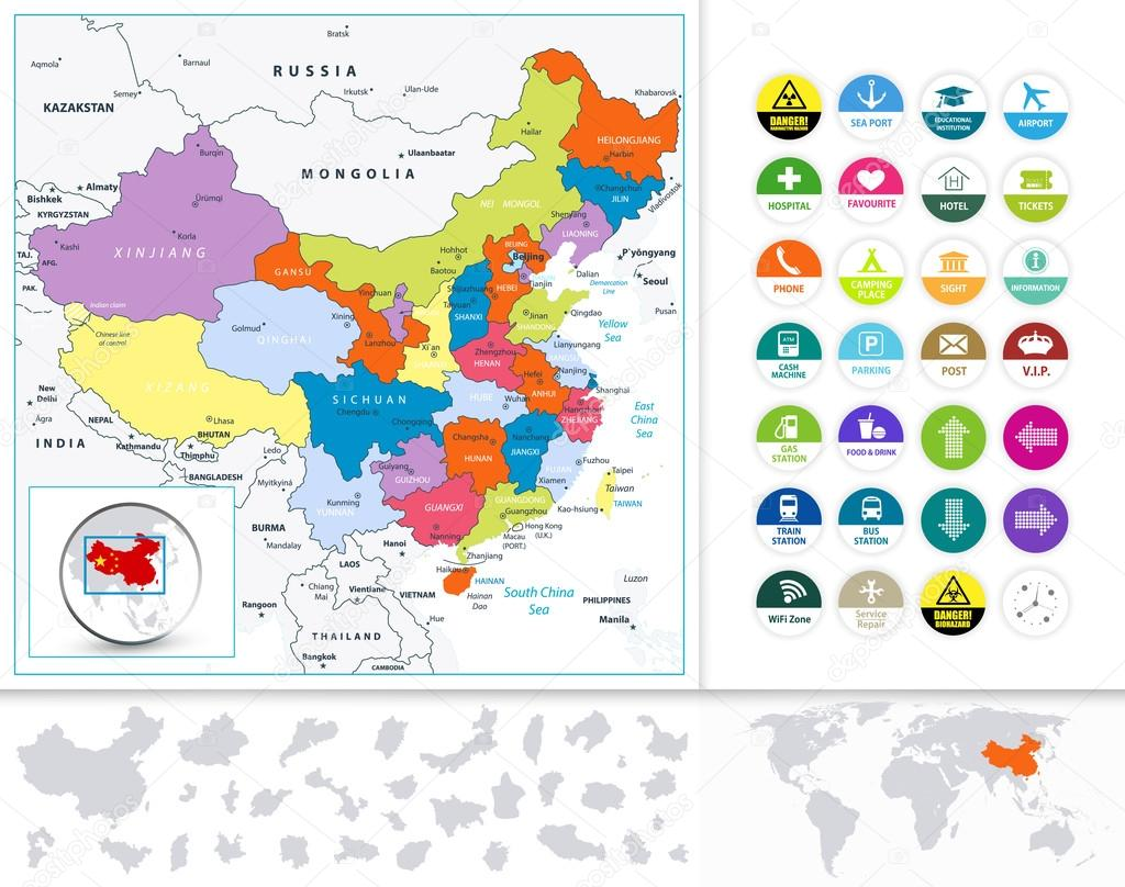 China Political Map and Flat Icon Set — Stock Vector © Livenart ...