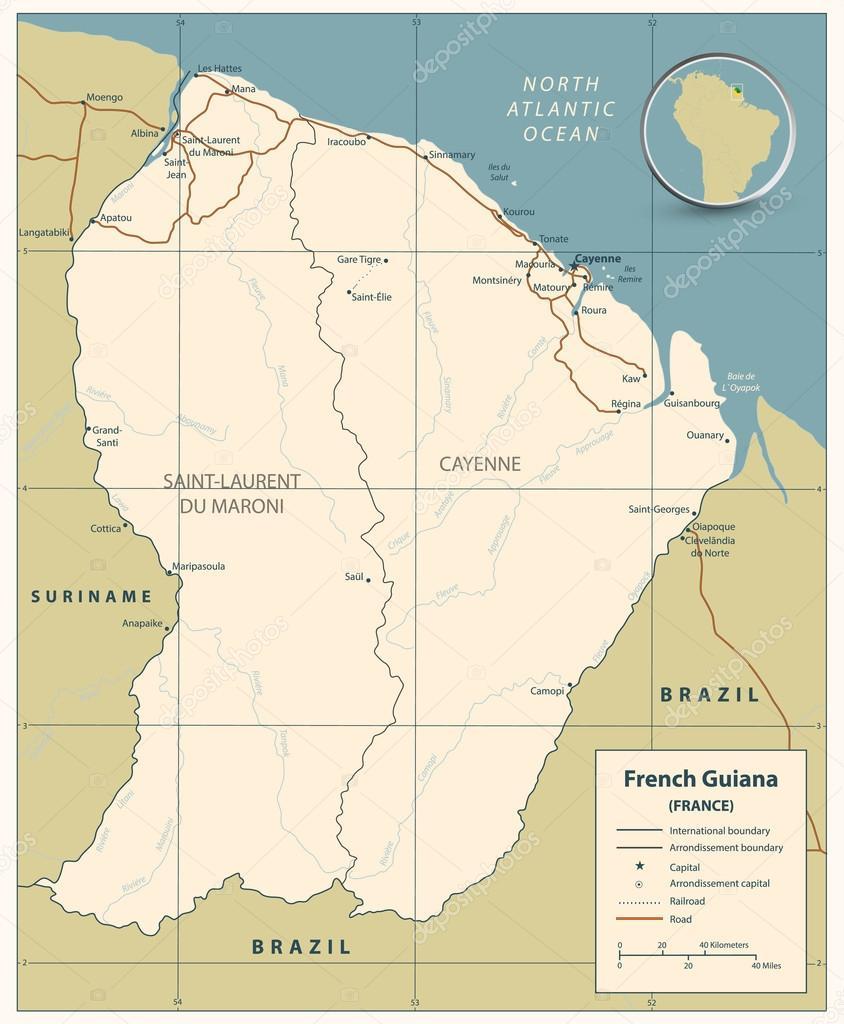 French Guiana road map Stock Vector Livenart 118979054