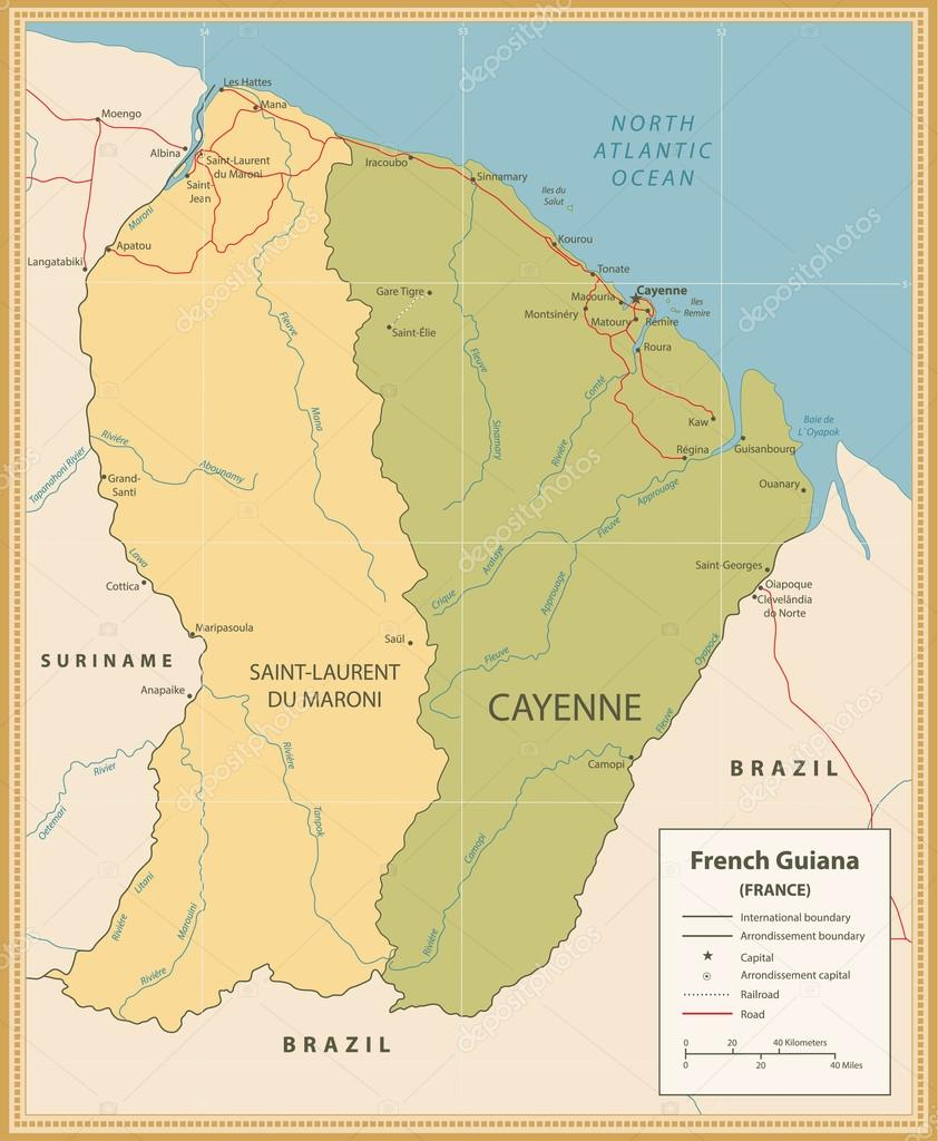 Map Of France Rivers.Vintage Color Map Of French Guiana With Roads And Rivers Stock