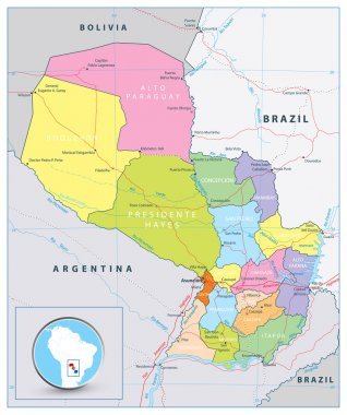 Detailed political road map of Paraguay