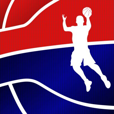 Red and blue basketball background