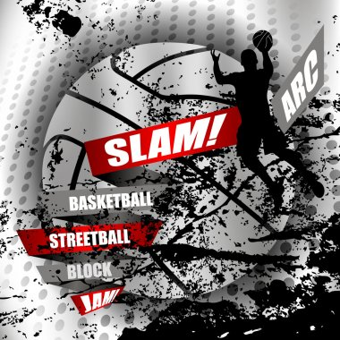 Abstract basketball background with a  basketball player silhoue