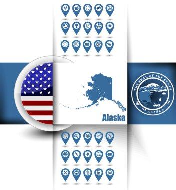 U.S. state of Alaska map contours with GPS icons, USA flag icon
