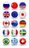 Fotografie Set of most popular waving and round flag icons