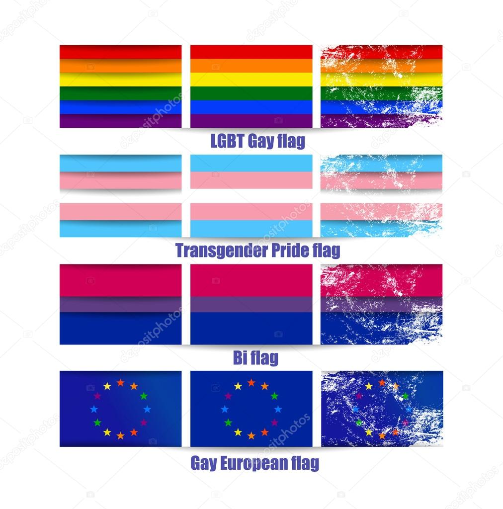 LGBT gay flags vector illustrations set