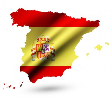 Spain contour map with Spain flag and emblem