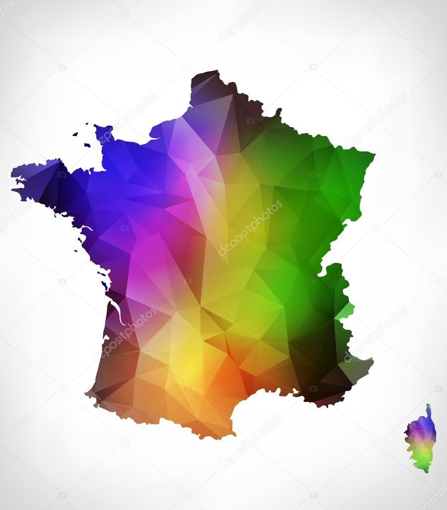 Mapa de color del arco iris de francia con diseo geomtrico rainbow color map of france with geometric triangle design raster version foto de livenart gumiabroncs Gallery