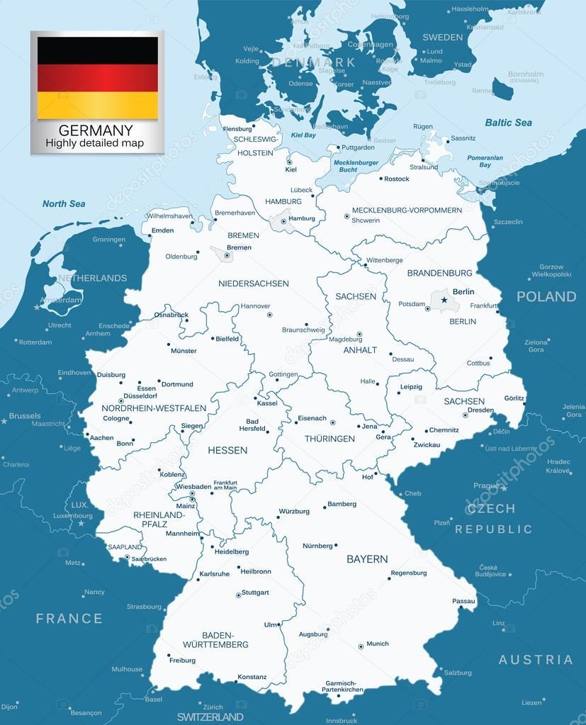 Highly detailed map of Germany with administrative divisions ...