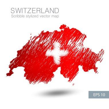 Scribble stylized map of Switzerland.