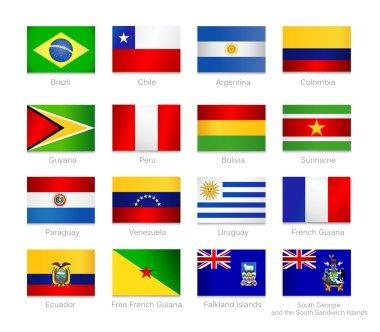 South America flags set