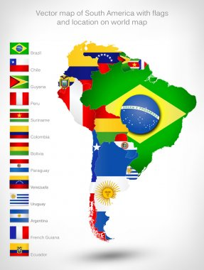 Map of South America with flags