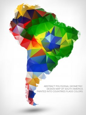 POLYGONAL MAP OF SOUTH AMERICA.