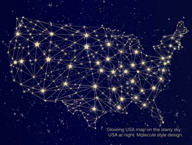 Glowing USA map on starry sky.