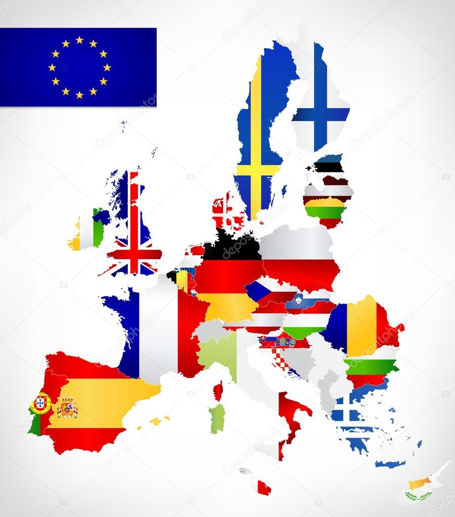 European union map with flags stock vector livenart 72751853 european union map with flags vector map of the european union with flags and location on a world map all european union countries member gumiabroncs Image collections