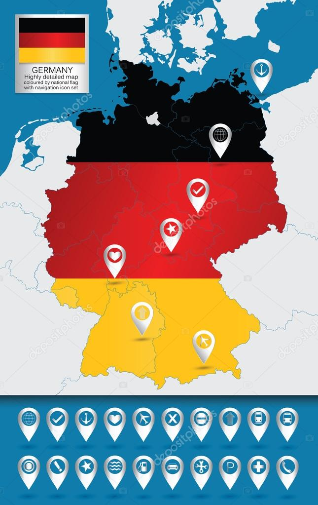 Detailed Map Of Germany Stock Vector C Livenart 72752097