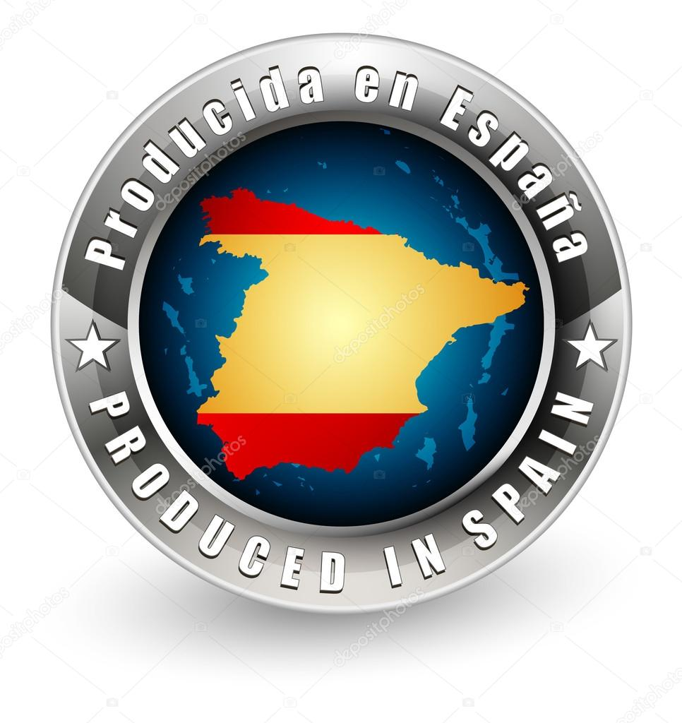 Map Of Spain To Label.Produced In Spain Label With Outline Map Stock Vector C Livenart