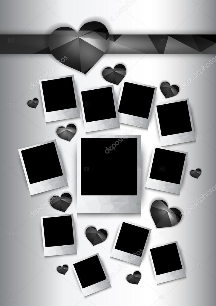 vectores marcos con corazones negros — Vector de stock © Livenart ...