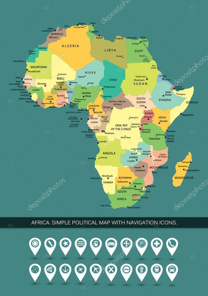 Africa Highly Detailed And Editable Simple Political Map Stock