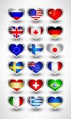 Glossy flag hearts