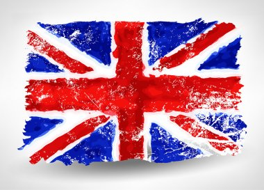 Bright hand drawn watercolor England flag with grunge effect 2