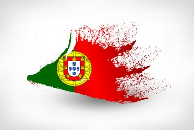 Brush painted flag of Portugal