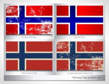 Norway flag graphic set