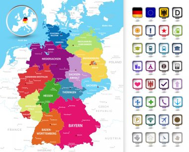 Political map of Germany with a 3D pin pointers