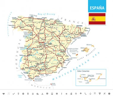Detailed map of Spain