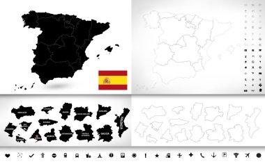 Black color blind map of Spain