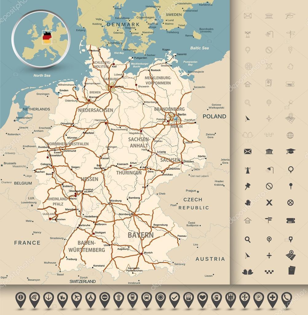 Germany road map — Stock Vector © Livenart #82737088