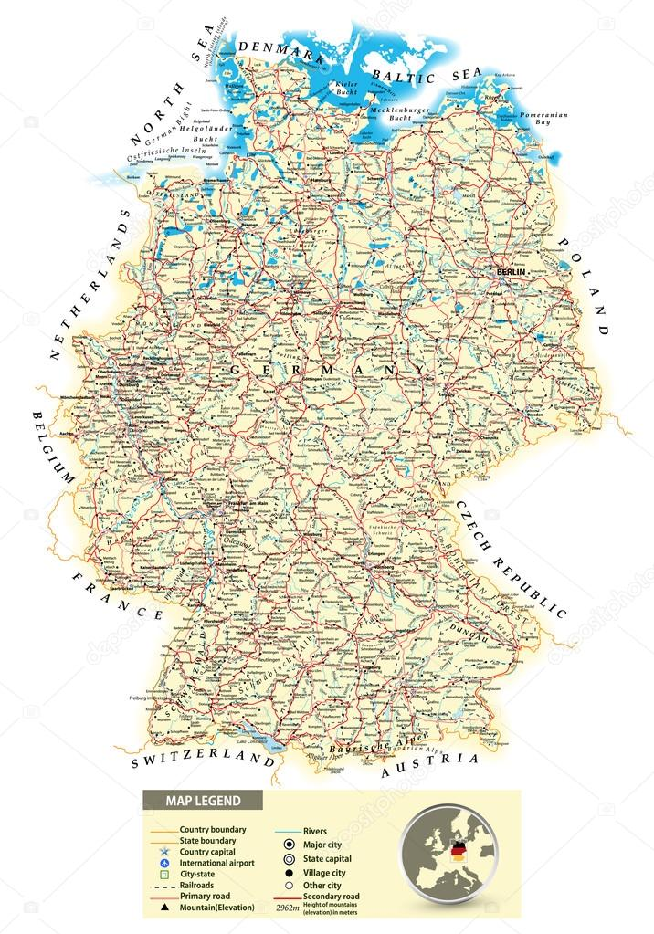 Large detailed road map of Germany — Stock Vector © Livenart ...