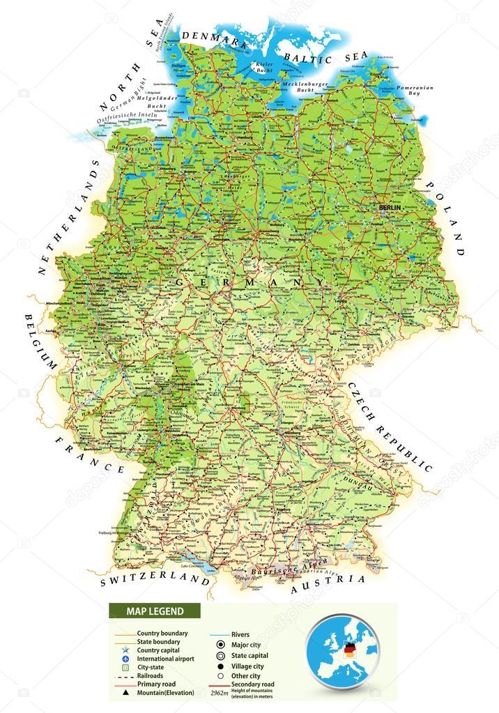 Flughäfen Deutschland Karte.Großen Detaillierte Physische Karte Deutschland Stockvektor