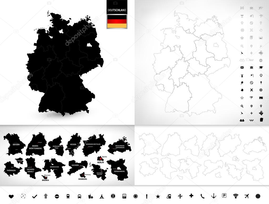 Blank Map Of Germany Stock Vector Livenart - Outline map of germany with states
