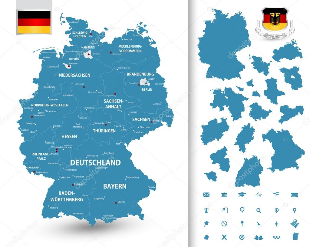 highly detailed map of germany with with administrative divisionsstates cities and pictogram navigation icons the url of the reference file is