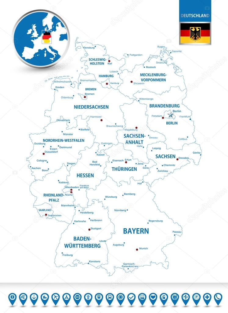 Outline Map Of Germany.Outline Map Of Germany With Regions And Cities Stock Vector