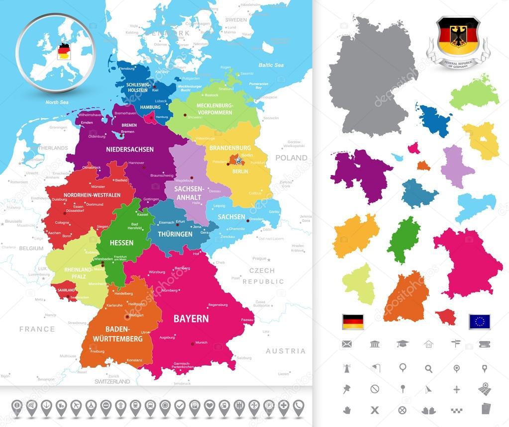 Political map of Germany Stock Vector Livenart 82737528
