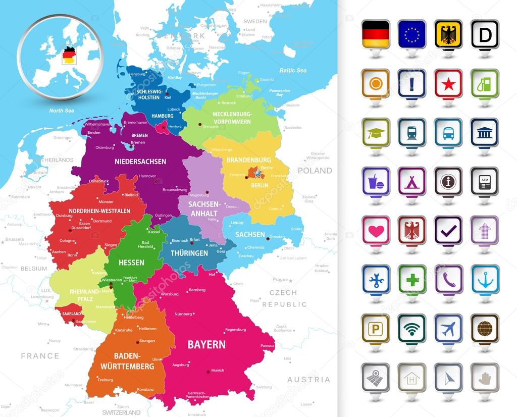 Political map of Germany with a 3D pin pointers Stock Vector