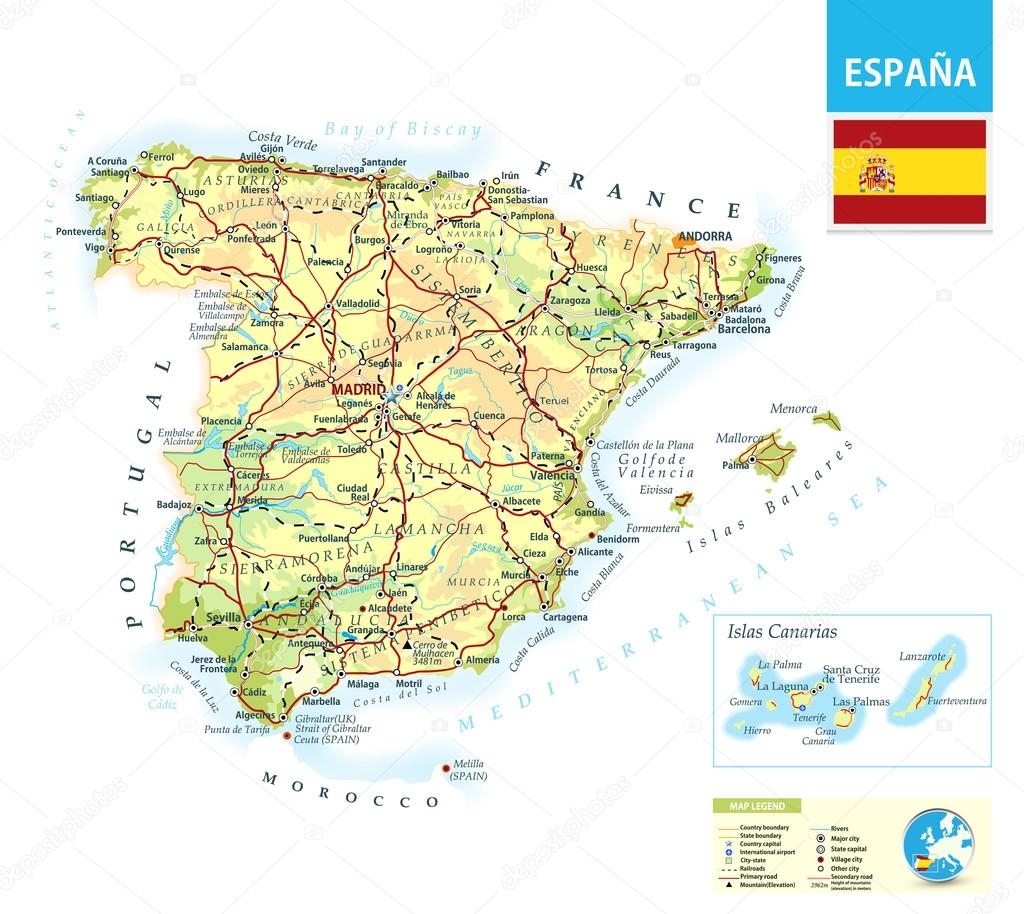 Spagna Cartina In Italiano.Detailed Physical Map Of Spain Stock Vector C Livenart 82738312