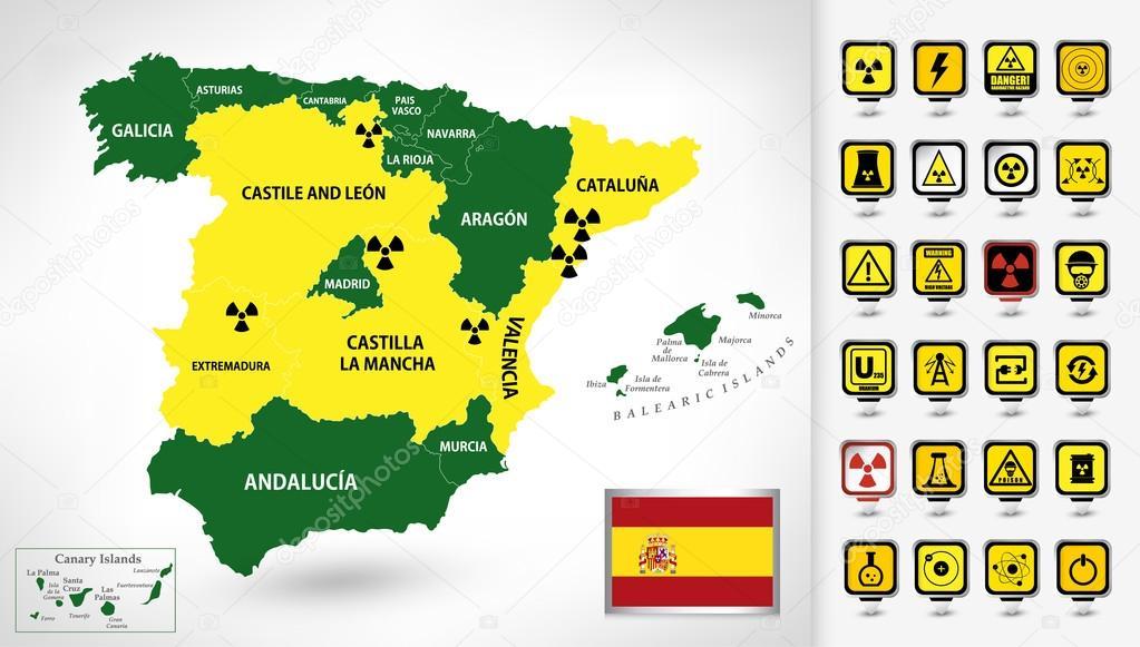 Mapa Plano Con Pin Icono De Puntero De La: Mapa De La Planta De Energía Nuclear De España Con Un