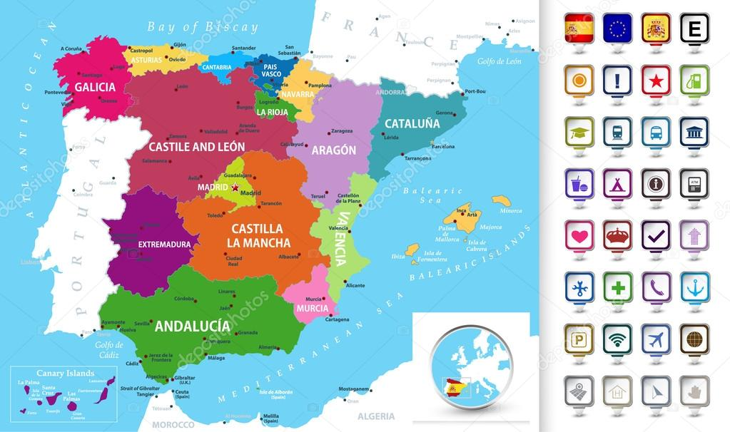 Spagna Cartina In Italiano.Political Map Of Spain With A 3d Pointers Stock Vector