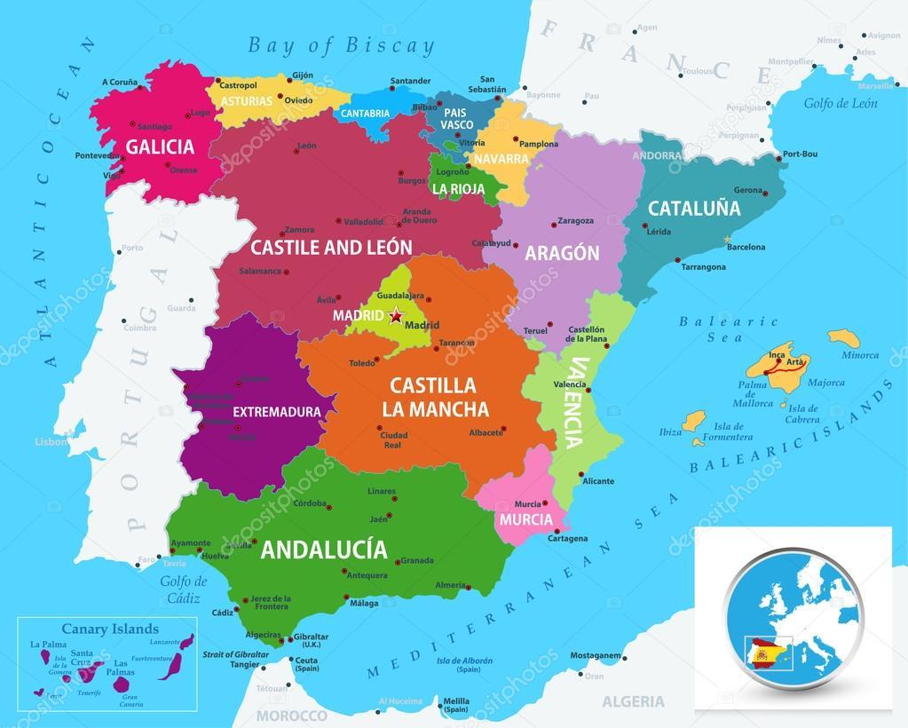 Map Of Spain Political.Political Map Of Spain Stock Vector C Livenart 82738444