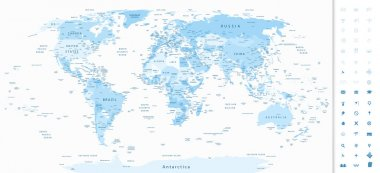 Detailed World Map blue colors