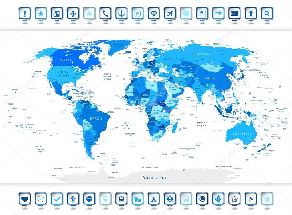 Navigation World Map.Blue World Map With Navigation Icons Stock Vector C Livenart 83644426