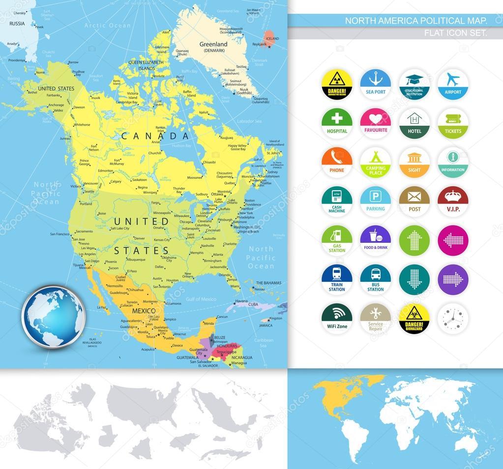North America political map Stock Vector Livenart 83806690