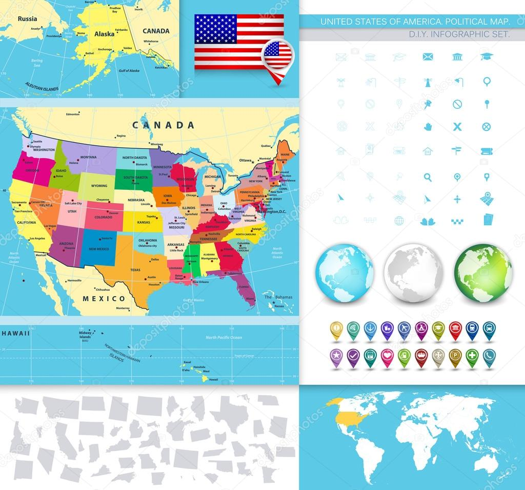 Map Of Usa Political.Usa Political Map With It S States Stock Vector C Livenart 86684376