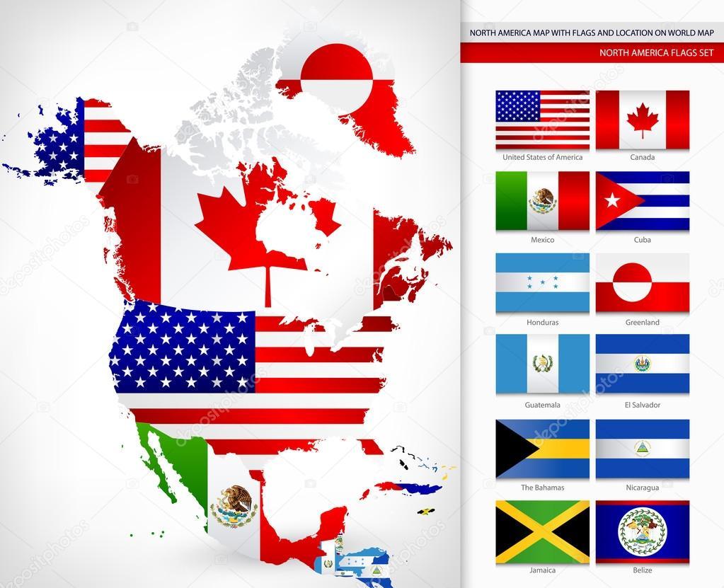 Bandera america del norte | mapa de América del norte con