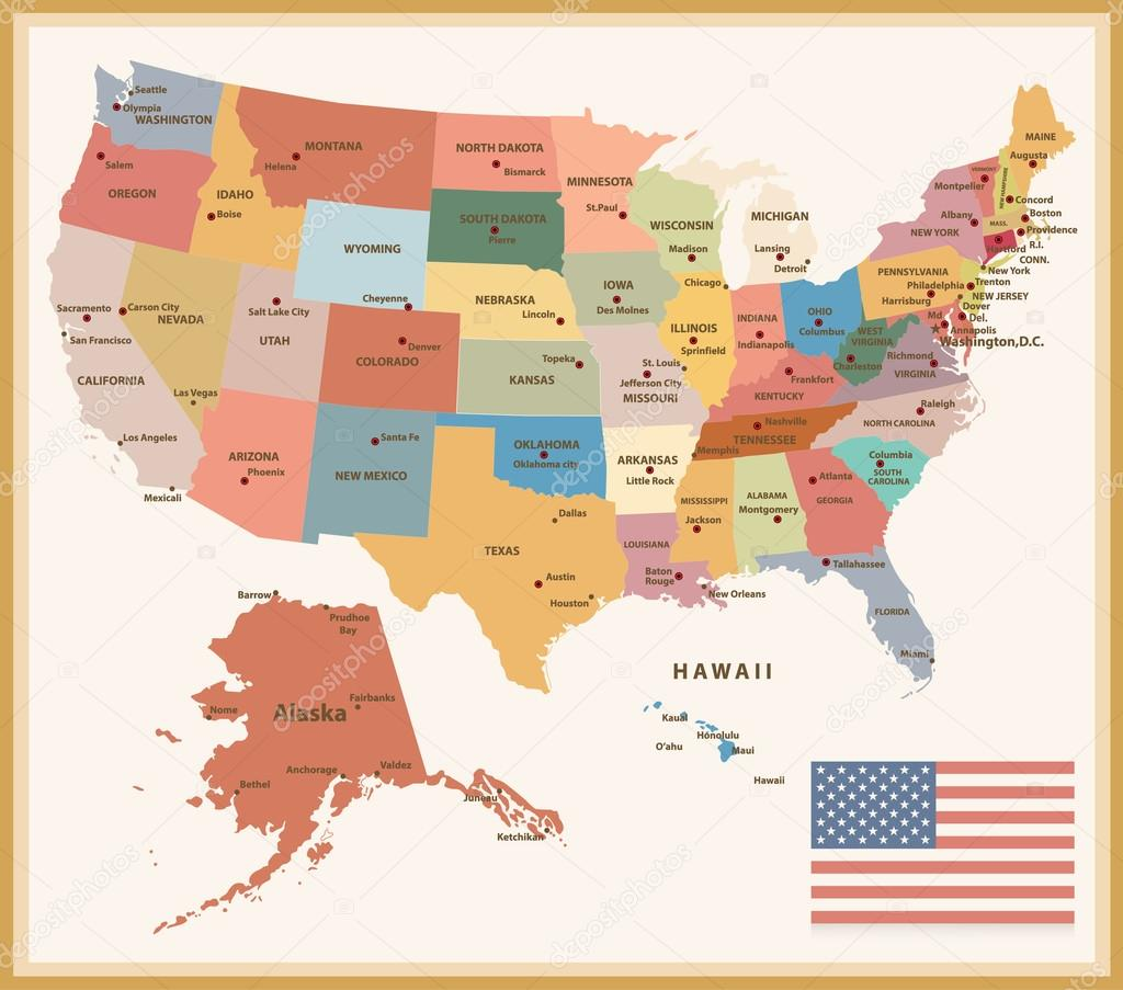 Mapa Mapa Usa Politicka